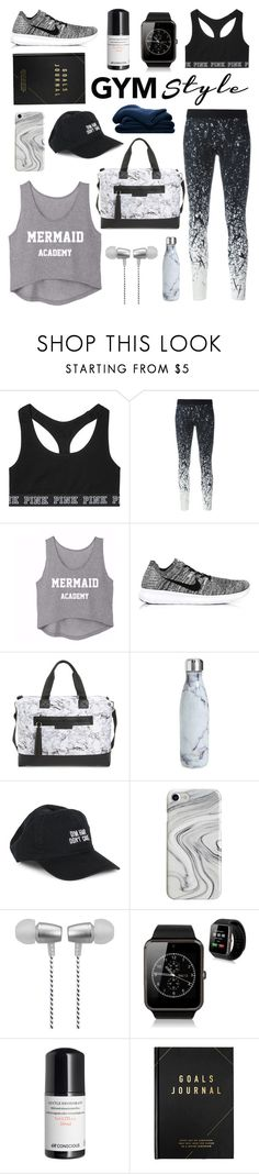 """Gym Style: Minimalist"" by shamaamah ❤ liked on Polyvore featuring Victoria's Secret, Reebok, NIKE, Balsa 201, S'well, Body Rags, Recover, Cynthia Rowley, kikki.K and Sheridan"