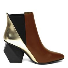 Tan/Gold Leather Sculptural Ankle Boots Heel 9cm