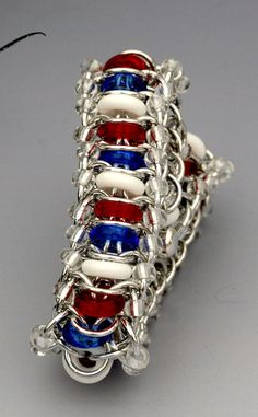 Alberta  Red White and Blue Glass rings in by EclecticArtbyCynthia, $40.00