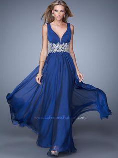 2015 A-line V-neck Chiffon Long Prom Dress /Formal Dress/Evening dress La Femme 21280