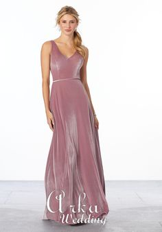 Shop Morilee's Velvet Bridesmaid Dress with V-Neckline. Stretch Velvet A-line bridesmaid dress with a v-neckline, v-back, and matching velvet waistband. Shown in Desert Rose. View Stretch Velvet swatch card for all available colors. Mori Lee Bridesmaid Dresses, Velvet Bridesmaid Dresses, Grey Prom Dress, Prom Dresses, Bridesmaids, Wedding Gown Sizes, Bridal Gowns, Bridal And Formal, Brie