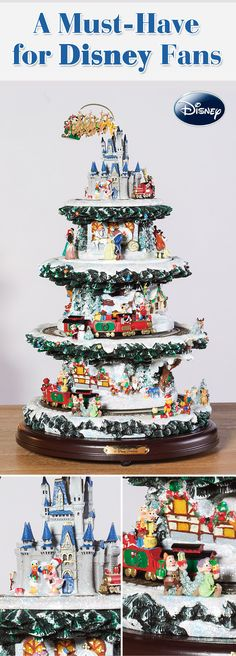 Bring a wonderful world of magic to your holiday home with this collectible tabletop Disney Christmas tree. It features 4 lively levels of motion, lights and music, with over 50 of your favorite characters, including Mickey and Minnie, Snow White, Winnie the Pooh and more!
