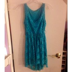 Beautiful Italian High-low Turquoise Dress Beautiful lace high-low Italian-made turquoise dress. NWOT Dresses High Low