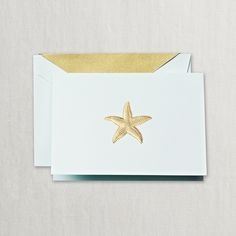 Hand Engraved Starfish Note: Let's take a sunset stroll. Toes in the sand. Shells in our buckets. Post meets coast for these hand engraved notes featuring a gold starfish atop beach glass paper.