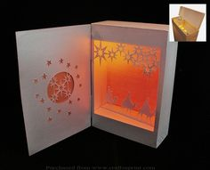 Three Kings Shadow Box lantern by Ru Lochlea This shadow box lantern has a compartment in the top to hold up to 3 battery powered tea lights they sit upside down with the plastic flame poking through a hole so the light shines down on the scene.