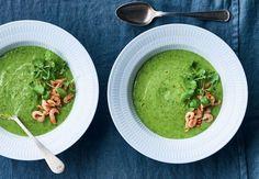 Opskrift på grøn gazpacho med fjordrejer