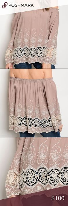 ✨NEW✨Mocha Mauve Embroidered Off Shoulder Top Elastic off the shoulder top with long bell sleeves and a cream colored embroidered crochet detail with a scalloped hem Tops Blouses