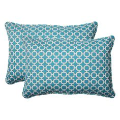 Pillow Perfect Outdoor Hockley Teal Oversized Throw Pillows (Set of 2) | Overstock.com