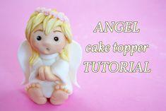 simple angel baptism cake topper - angelo in pasta di zucchero per torta...