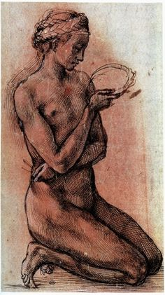 Michelangelo, Kneeling Nude Girl, c. 1500