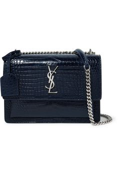 Navy croc-effect glossed-leather (Calf) Snap-fastening front flap  Designer color: Bleu Fonce Weighs approximately 2.9lbs/ 1.3kg   Made in Italy