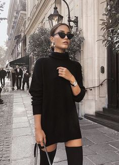black turtleneck sweater dress with over the knee boots. Visit Daily Dress Me at. - - - black turtleneck sweater dress with over the knee boots. Visit Daily Dress Me at… – , Source by michellenobody All Black Fashion, Look Fashion, Autumn Fashion, Black On Black Outfits, All Black Outfit For Work, Classy Fashion, All Black Professional Outfits, All Black Dress Outfit, All Black Business Casual Outfits