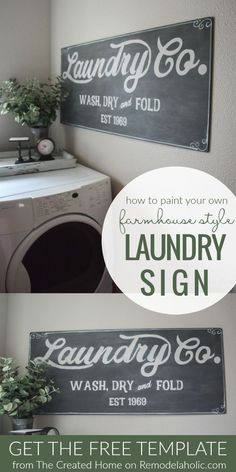 Paint Your Own Fixer Upper Magnolia Market Style Farmhouse Laundry Sign With Fre. - Paint Your Own Fixer Upper Magnolia Market Style Farmhouse Laundry Sign With Free Printable Templat - Laundry Decor, Laundry Room Signs, Bathroom Signs, Laundry Room Quotes, Laundry Art, Small Laundry, Laundry Drying, Laundry Closet, Laundry Storage