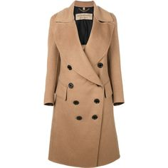Burberry draped front tailored coat ($3,160) ❤ liked on Polyvore featuring outerwear, coats, brown, double breasted coat, burberry coat, brown double breasted coat, tailored coat and camel drape coat