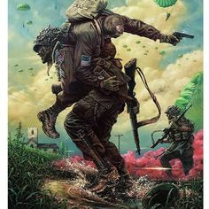 Above is a piece of art depicting a paratrooper from the Airborne carrying … – All Pictures Military Life, Military Art, Military History, Ps Wallpaper, Military Drawings, Paratrooper, Panzer, Vietnam War, Special Forces