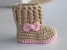 Crochet Baby Booties - Baby Girl Booties -  Baby Snuggly Snuggs  - Newborn to 6-12 mos sizes. via Etsy