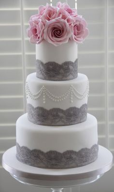 White cake with grey lace accents