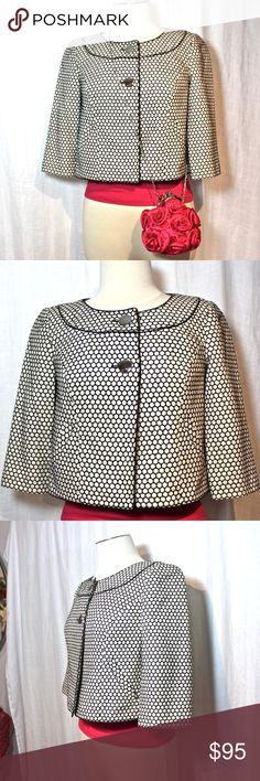 """REDUCED★NEAR NEW★BOGO SALE★See closet for details ★NEAR NEW★ Lovely silk Ann Taylor Jackie-O style Jacket. Pristine condition! Raised stitching, beautiful details, high contrast. Rounded collar w/contrast stitching. 8"""" open neck across at shoulder 2 shiny silver button closure. 17.75"""" collar to hem 15.5"""" arm length Fully lined  ★BUNDLE & SAVE!★  ★SEE BOGO SALE!★ ☀️Items $10 & under are firm unless bundled.☀   ★NO Low Ball offers please!★ Raising money for medical bills & a car. Thank you! :)…"""
