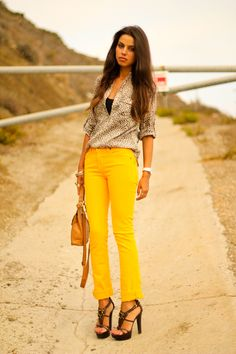 Leopard and yellow... who knew! Another great transition outfit into late summer/fall