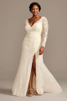 Romantic boho vibes meet modern simplicity in this sheath wedding dress. The allover lace, illusion long sleeve dress has a sleek faux surplice bodice and is finished with a delicate eyelash trim alon Wedding Dress Over 40, Wrap Wedding Dress, Second Wedding Dresses, Wedding Dresses Plus Size, Wedding Dress Styles, Designer Wedding Dresses, Bridal Dresses, Size 20 Wedding Dress, 2nd Marriage Wedding Dress