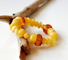 Unique 100% Natural Baltic Amber Bracelet, Yellow Amber Bracelet, Organic Bracelet For Her, Amber For Her, Summer Style Jewelry