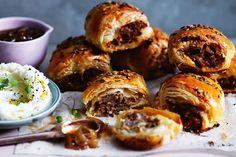 Italian-style sausage rolls with mascarpone mash