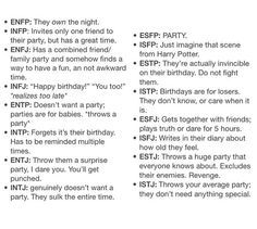 Meyers Briggs at a party! Haha