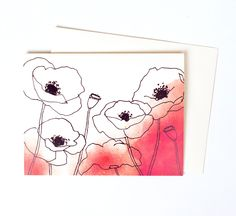 New to anopensketchbook on Etsy: Pretty Thank You Note Single Watercolor Poppies Greeting Card in Persimmon Perfect for Every Occasion (4.50 USD)