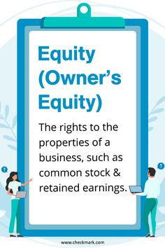 Equity (Owner's Equity): The Rights to the properties of a business, such as common stock & retained earnings. Accounting Basics, Bookkeeping And Accounting, Bookkeeping Business, Small Business Accounting, Accounting And Finance, Business Education, Online Bookkeeping, Bookkeeping Services, Business Notes