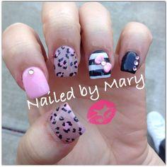 Pink cheetah print 3d art bow nails