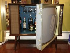 Vintage TV Hidden Cocktail Bar Liquor Cabinet | eBay