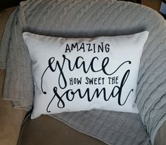 Amazing Grace How Sweet the Sound pillow | 18x14 inch decorative throw pillow by abbykatepillows on Etsy
