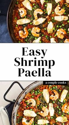 -Easy Shrimp Paella – A Couple Cooks This easy shrimp paella recipe is stunning and works for entertaining or a weeknight dinner. Here's how to make this traditional Spanish recipe! Easy Shrimp Paella Recipe, Shrimp Recipes, Fish Recipes, Healthy Food Options, Healthy Recipes, Quick Recipes, Healthy Meals, Spanish Food, Spanish Recipes