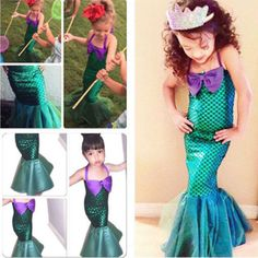 Voguish Kids Ariel Little Mermaid Set Girl Princess Dress Party Cosplay Costume