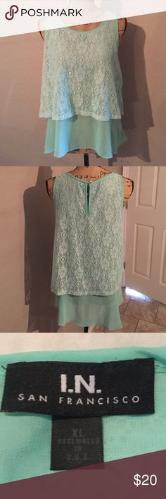 Mint green top with two layers Mint green shirt with two layers. First layer is lace second is mint green soft layer. I.N. San Fransico  Tops Tank Tops