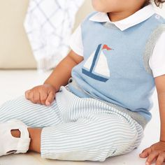 Soft Stripe Trousers | The White Company. Shopping from the US? -> http://us.thewhitecompany.com/The-Little-White-Company/Baby-Clothing/Soft-Stripe-Pants/p/STTRA?swatch=Blue
