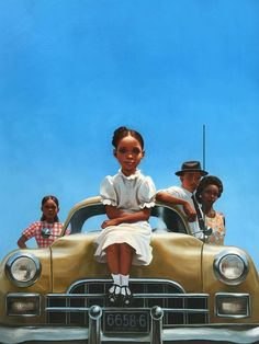 "Cover painting by Kadir Nelson for ""The Gold Cadillac"" by Mildred D. Taylor. #mildreddtaylor #rollofthunderhearmycry #penguinrandomhouse #penguinbooks"