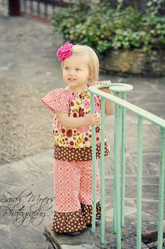 Indian Summer Peasant Top and Ruffle Pant Outfit - sizes 6 months - Girls 5T. $52.00, via Etsy.