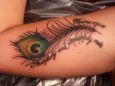 My favorite bible verse and I love peacock feathers. It's my favorite tattoo I have so far :) Peacock Tattoo Sleeve, Feather Tattoo Wrist, Mandala Wrist Tattoo, Peacock Feather Tattoo, Feather Tattoo Design, Feather Tattoos, Peacock Feathers, Tattoo Forearm, Sternum Tattoo