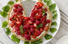 Jordbær- og bringebærkake