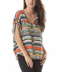Love this Orange & Green Geometric Button-Up by Aziza on #zulily! #zulilyfinds