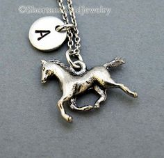 Running Horse charm, horse necklace, horse charm, initial necklace, initial hand stamped, personalized, antique silver, monogram on Etsy, $22.25 CAD