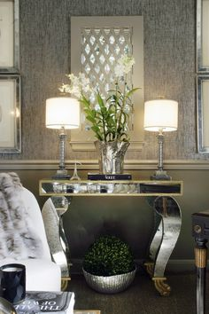 metallic silver grasscloth wallpaper from Phillip Jeffries Halls, Metallic Wallpaper, Seagrass Wallpaper, Mirrored Furniture, Mirrored Table, Luxury Decor, Home Accents, Interior Inspiration, Color Inspiration
