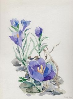 Original Watercolor Spring Time by acupofgreytea on Etsy, $50.00