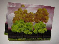 Surreal trees family portrait green purple gold by ArtByKatieK, $0.85