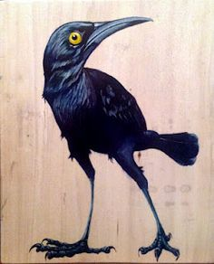 "Grackle. Acrylic on found wood 11""x14"" SOLD"