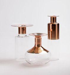 Tapio: Glass Vases with Copper Accents by Giorgio Bonaguro