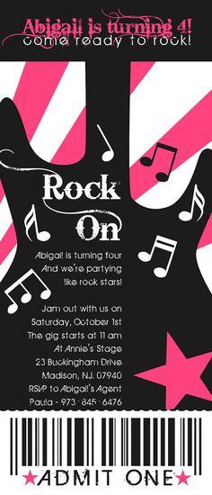 Party Like a Rock Star Birthday Ticket Invitation. $15.00, via Etsy.