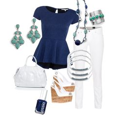 Navy, White, Turquoise ...cute Spring outfit featuring lia sophia jewelry from the new Spring/Summer style guide.  liasophia.com/brendamcandrews