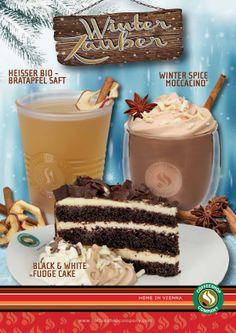 """Jetzt geht's ab in den Winter! Mit den neuen """"Winterzauber"""" Köstlichkeiten der Coffeeshop Company bist du an kalten Wintertagen bestens versorgt. Einfach rein ins Warme und den köstlichen Winter Spice Moccacino®, den heißen Bio-Apfelsaft oder einen süßen Black & White Fudge Cake genießen."""